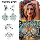 Face Jewels, Fascigirl 4 Pcs Face Breast Rhinestone Mermaid Tears Tattoos Rave Party Crystal Gem Stones Bindi Temporary Stickers