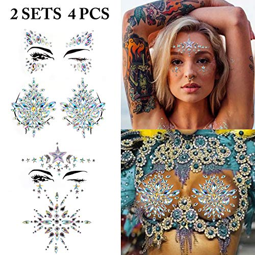 Face Jewels, Fascigirl 4 Pcs Face Breast Rhinestone Mermaid Tears Body Glitter Stickers Rave Party Festival Crystal Gem Temporary Tattos