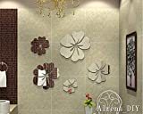 Alrens_DIY(TM)25pcs=5 Flowers Unique Gifts Crystal Reflective DIY Mirror Effect 3D Wall Stickers Home Decoration Bathroom Decor