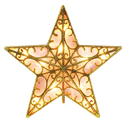YUNLIGHTS 9 Inch Lighted Star Tree Topper, Gold Glittered Vintage