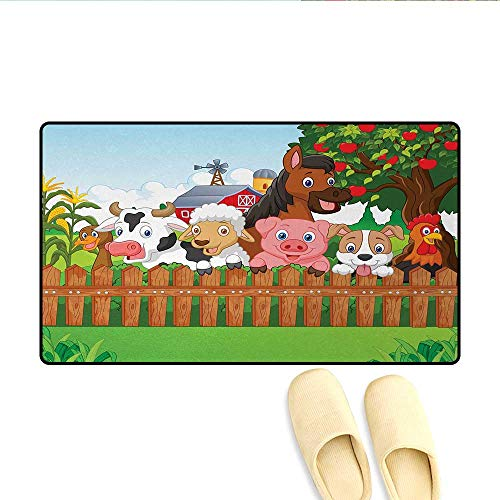 - Bath Mat,Collection Cute Farm Animals on Fence Comic Mascots with Dog Cow Horse Kids Decor,Customize Door Mats for Home Mat,Multicolor,Size:24