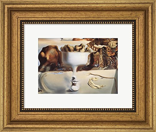 Apparition of Face and Fruit Dish on a Beach, c.1938 by Salvador Dali Framed Art Print Wall Picture, Wide Gold Frame with Hanging Cleat, 13 x 11 inches ()