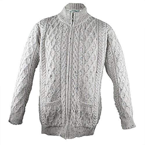 (West End Knitwear Mens Merino Wool Full Zip Aran Sweater)
