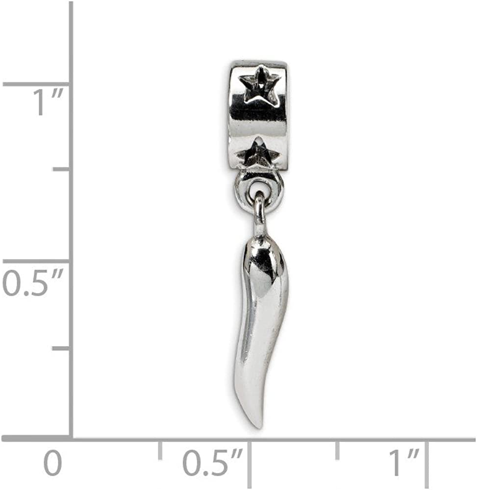 Sterling Silver Reflection Italian Horn Dangle Solid Bead
