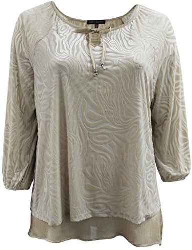 BNY Corner Women's Plus-Size 3/4 Sleeves Velvet Burnout Sweater Shirt Top Cornsilk 3X G160.21L (Jeans Velvet Silk)