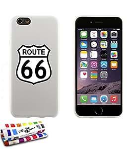 Carcasa Flexible Ultra-Slim APPLE IPHONE 6 4.7 POUCES  de exclusivo motivo [Highway 66] [Blanca] de MUZZANO  + ESTILETE y PAÑO MUZZANO REGALADOS - La Protección Antigolpes ULTIMA, ELEGANTE Y DURADERA para su APPLE IPHONE 6 4.7 POUCES