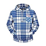 ZYKINYONG 3D Printed Hoodie Hoodies White and Blue Geometric Plaid Men's Sweater