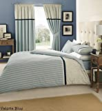 [Hachette] 3PC VALERIA BLUE (STRIPES) KING SIZE BEDDING BED DUVET COVER QUILT SET WITH PILLOWCASES by Hachette
