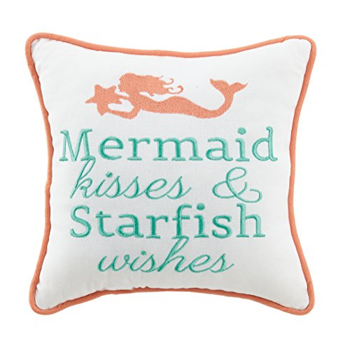 (Peking Handicraft Mermaid Kisses & Starfish Wish, 10x10 Pillow, Multi)