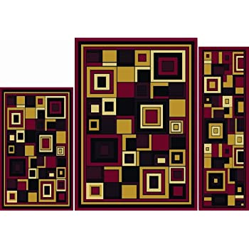 Home Dynamix Area Rugs - Ariana Collection 3-Piece Living Room Rug Set - Ultra Soft & Super Durable Home Décor - 7543-200 Red