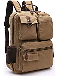 Mens Canvas Vintage Backpack for 15.6 inch Laptop Backpack Bookbag for Men Women