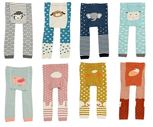 CHUNG Baby Toddler Boys Girls Cotton Footless Ankle Length Tights Soft Stretchy 6M-4Y, Pink Rabit, 6-24 Months
