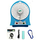 YINO Mini USB 3 Speeds Rechargeable fan,Portable Fan with 2200mAh Power Bank and Flash light,for Traveling,Fishing,Camping,Hiking,Backpacking,BBQ,Baby Stroller,Picnic,Biking,Boating (Blue)