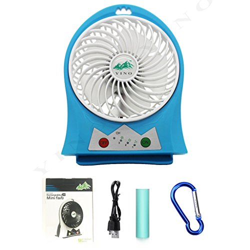 Rechargeable Mini Electric USB Fan Portable with LED Light (Blue) - 7