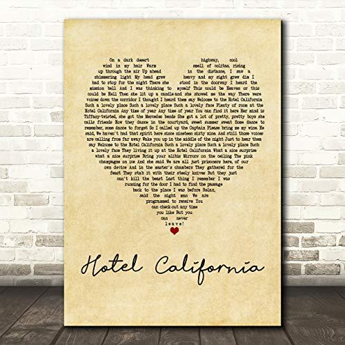 Hotel California Vintage Heart Quote Song Lyric Wall Art Gift Print (Hotel California Lyrics)
