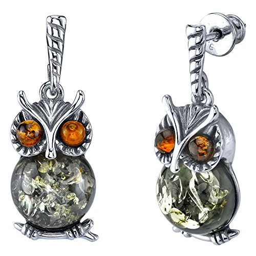Sterling Silver Multi Color Cognac and Olive Green Baltic Amber Drop Dangle Owl Wisdom Earrings (Silver Plated Amber Earrings)