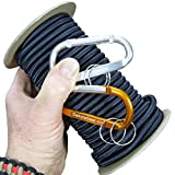 "Dakota Gear (TM) Shock Cord - US NAVY SEAL MIDNIGHT BLUE 1/4"" x 100 ft. Spool. Marine Grade. Also called Bungee Cord, Stretch Cord & Elastic Cord. Made In USA. 2 Carabiners and Knot Tying eBook."