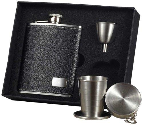 "Visol ""Eclipse S"" Leather Stellar Flask Gift Set, 6-Ounce, Black"