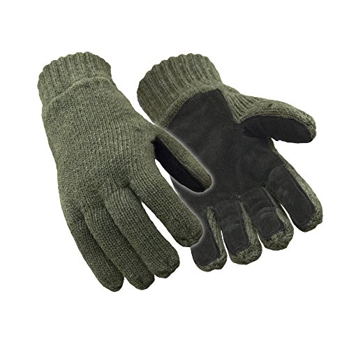 RefrigiWear Insulated 100% Ragg Wool Leather Palm Gloves (Green, X-Large) - Wool Military Glove