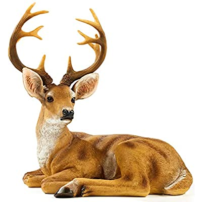 FRTCV Resin Buck Deer Garden Statue Decoration for Garden, Entrance & Dining Table (13 Inch Height) : Garden & Outdoor