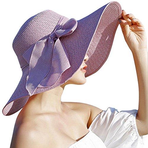 Lanzom Womens Big Bowknot Straw Hat Floppy Foldable Roll up Beach Cap Sun Hat UPF 50+ (Purple)