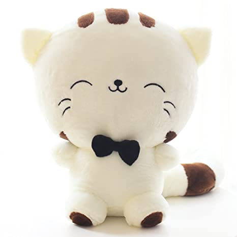 Amazon.com: Studyset Cute Cartoon Cat Plush Stuffed Toy Big Tail Fat Face Cat Doll Lovely Pillow Plush Toy Valentines Christmas Birthday Gift Creamy-White ...