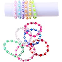 Candygirl Assorted 12pcs Plastic Iridescent Kids Bead Bracelet Kits for Girls Party Favors