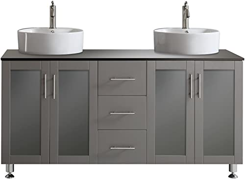 Vinnova 745060-GR-BG-NM Tuscany 60 Double Vanity in Grey with White Vessel Sink with Glass Countertop without Mirror