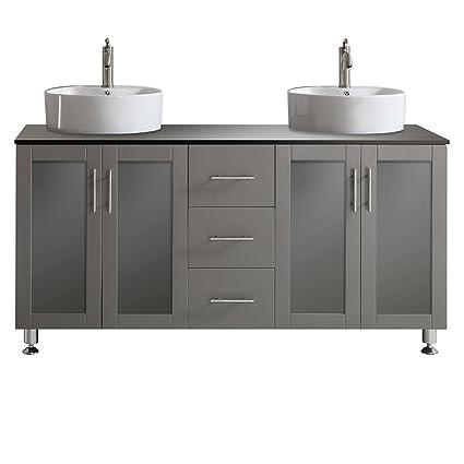 Vinnova 745060 GR BG NM Tuscany 60u0026quot; Double Vanity In Grey With