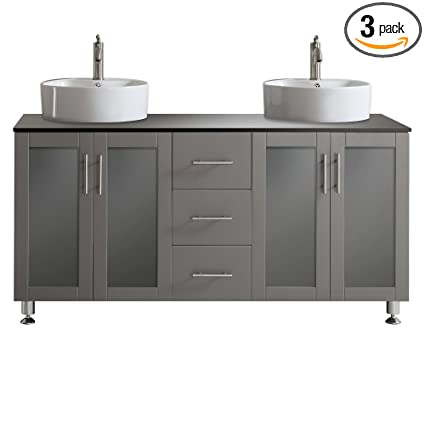 Vinnova 745060 GR BG NM Tuscany 60 Inch Double Vanity In Grey With
