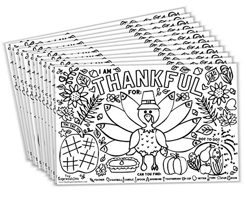 Tiny Expressions - Fall Thanksgiving Placemats for Kids (Pack of 12 Turkey Placemats) | Coloring Activity Paper Table Mats for Children to Write Thankful List | Disposable Bulk Bundle Set