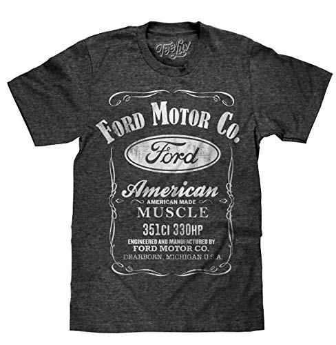 Tee Luv Ford American Made Muscle Shirt - Licensed Ford Motor Co Shirt (Large) Onyx