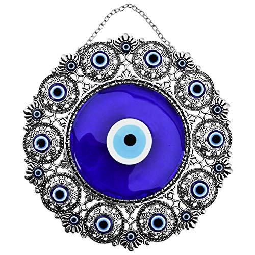 Evil Eye Decoration - Erbulus Turkish Big Glass Turkish Evil Eye Bead Home Protection Charm-Hanging Ornament Wall Decor (Blue Eye) (Blue Eye)