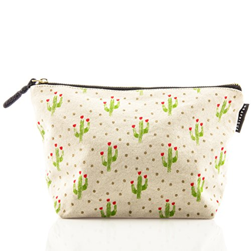 Graphique Cactus Medium Zip Pouch - Thick Cotton Canvas Storage Bag w/ Matching Black Inside Liner, Gold Zipper, and Expanding Bottom, 10