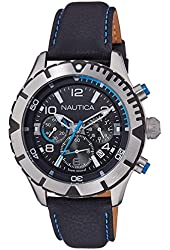 Nautica Men's 46mm Blue Leather Band Steel Case Quartz Black Dial Analog Watch NAI20503G