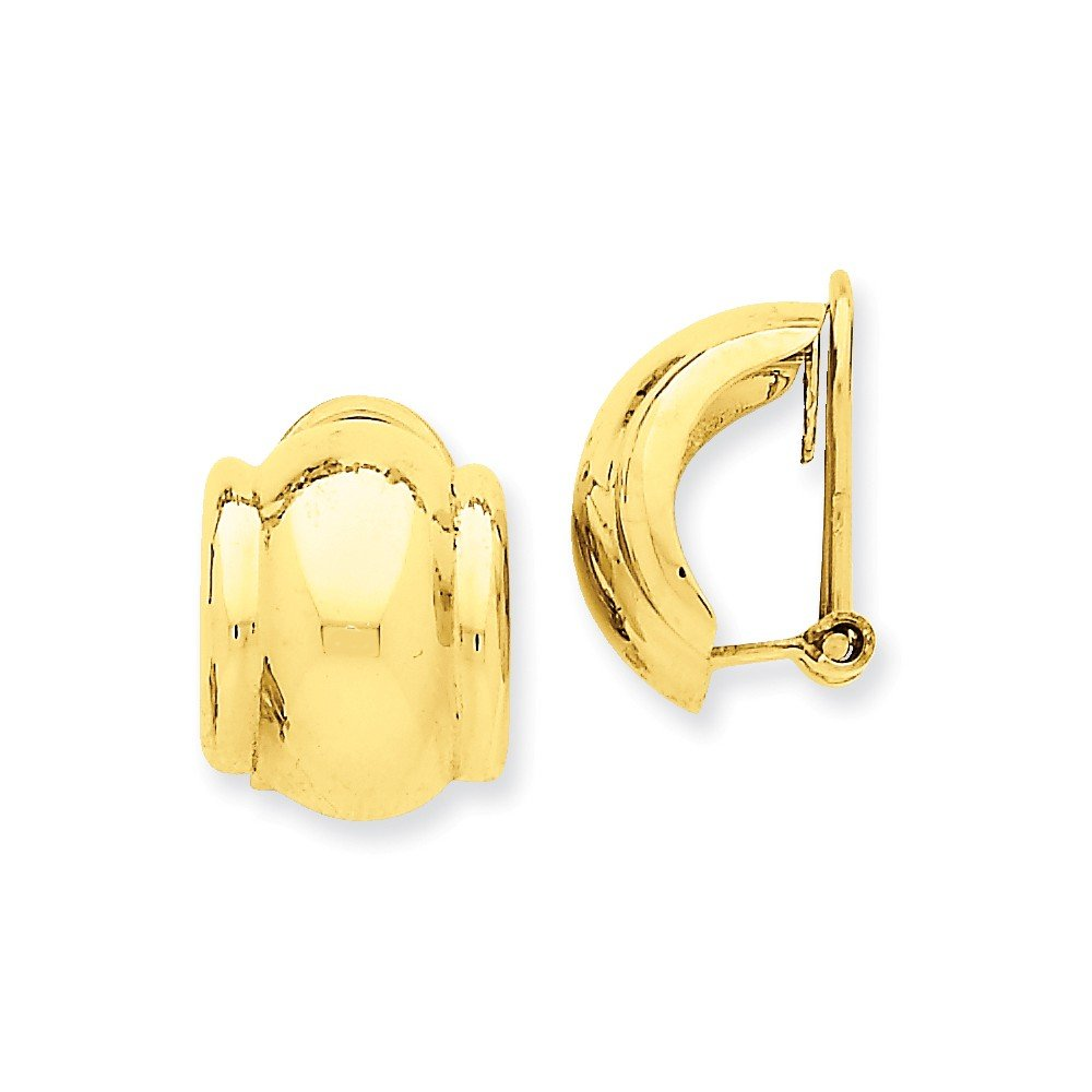 Mia Diamonds 14k Solid Yellow Gold Omega Clip Non-Pierced Earrings (16mm x 12mm)