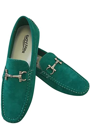 Men's Giovanni Loafer Dress Shoes Italian Style Slip On Suede Green With White Stitch 9537