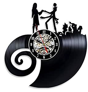 The Nightmare Before Christmas Love Vinyl Record Wall Clock - Decorate your home with Modern Large Jack and Sally Art - Best gift for Him and Her - Win a prize for feedback