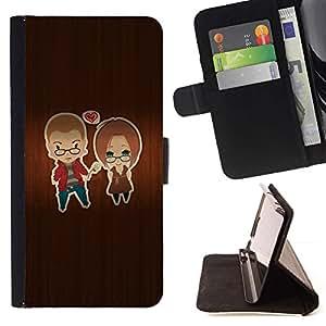 For Sony Xperia Z1 L39 Case , Wood Lovers corazón del amor- la tarjeta de Crédito Slots PU Funda de cuero Monedero caso cubierta de piel