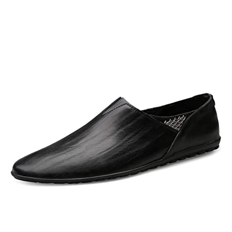 Hongjun-shoes, Zapatillas Mocasines de Cuero Genuino para Hombres Zapatillas Mocasines Suaves para Caminar