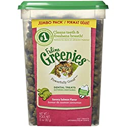FELINE GREENIES Dental Treats For Cats Savory Salmon Flavor 11 Ounces With Natural Ingredients Plus Vitamins, Minerals, And Other Nutrients