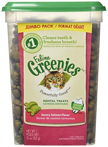 FELINE GREENIES Dental Natural Treats For Cats Savory Salmon Flavor 11 Ounces With Natural Ingredients Plus Vitamins, Minerals, And Other Nutrients ()