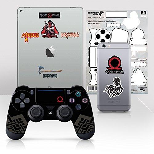 Controller Gear Licencia oficial de God of War Dualshock 4 Wireless Controller y Tech Skin Set Iconic - PlayStation 4