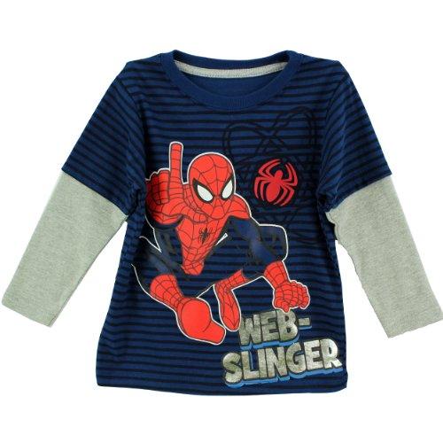 Marvel Little Boys' Spiderman Web Slinger Long Sleeve T-Shirt, Blue, 2T