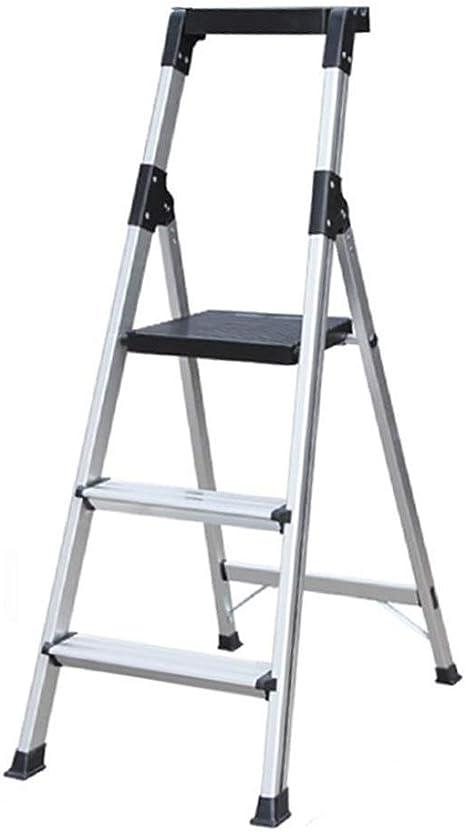 FS Escaleras De Tijera De Aluminio De 3 Peldaños Con Pasamanos, Escalera Plegable For El Hogar, Escalera Telescópica De Espina De Engrosamiento, Escalera De Ingeniería De Cuatro Pasos + Caja De Herram: