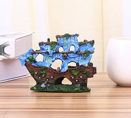 Charmly Sunk Ship Wreck Wreckage Cave Resin Coloured Sailboat Aquarium Ornament Fish Tank Decoration Fish and Shrimp To Avoid The House 5.5