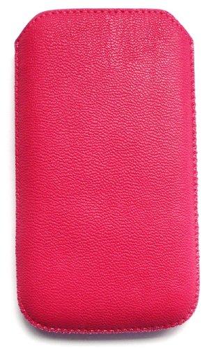 Emartbuy® Huawei Ascend Y300 Hot Rosa Textura Pu Bolsa / Caja / Manga / Titular (Tamaño Xxl) Con Mecanismo Ficha De Extracción Y Protector De Pantalla De Cuero