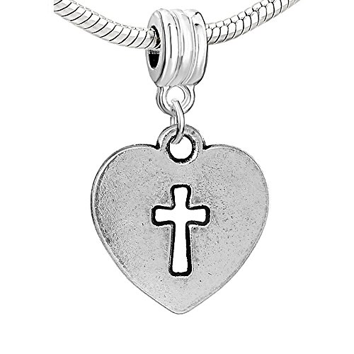 SEXY SPARKLES Silver Tone Heart Cross Charm Spacer Bead for Snake Chain Charm Bracelet