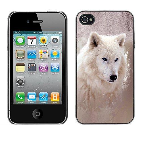 Omega Case PC Polycarbonate Cas Coque Drapeau - Apple iPhone 4 / 4S ( Cool Winter Wolf )