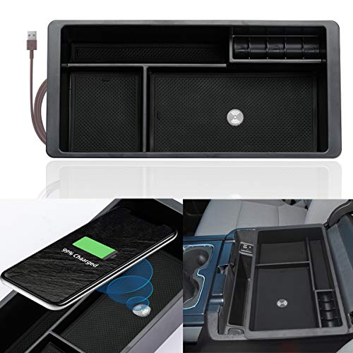 ROCCS Wireless Charger Center Console Insert Organizer Tray for GMC Sierra Yukon Chevy/Chevrolet Silverado Tahoe Suburban Armrest Storage Box Compartment